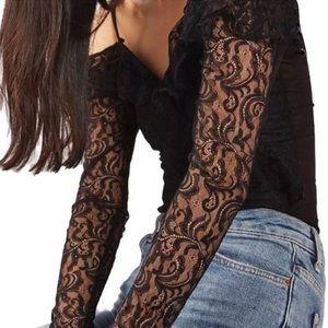 TOPSHOP off shoulder lace black bodysuit. Size 8